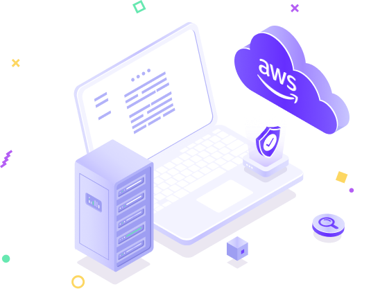 Laptop with AWS infrastructure security icon