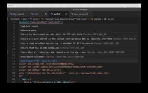 screenshot of checkov code extension