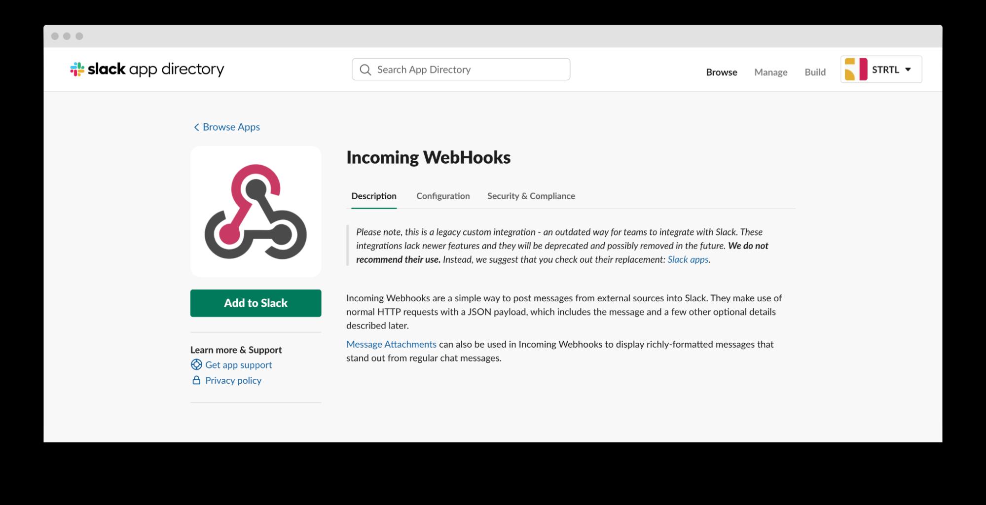 screenshot of slack app directory