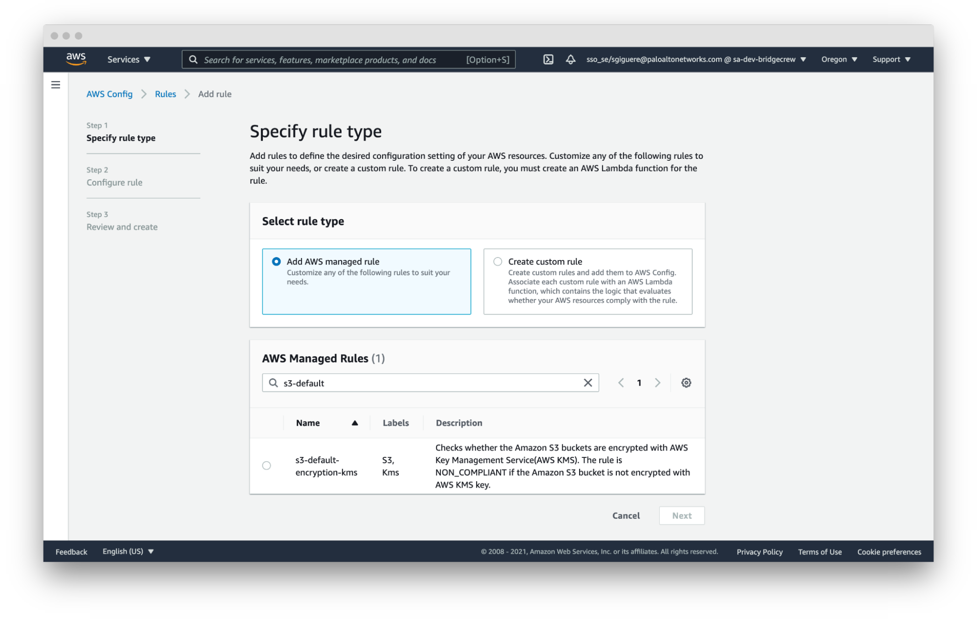 screenshot of aws config specify rule type