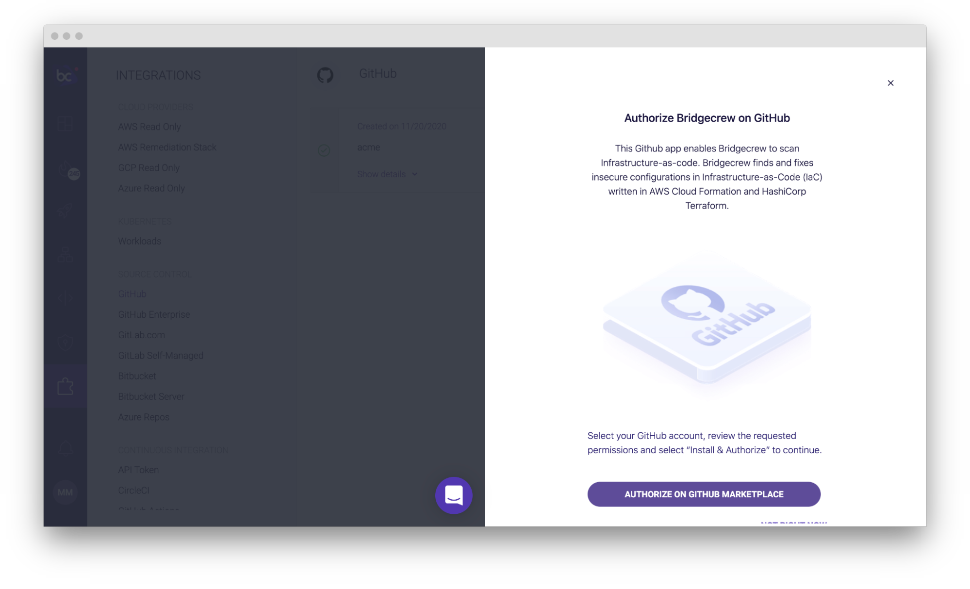 screenshot of bridgecrew authorize