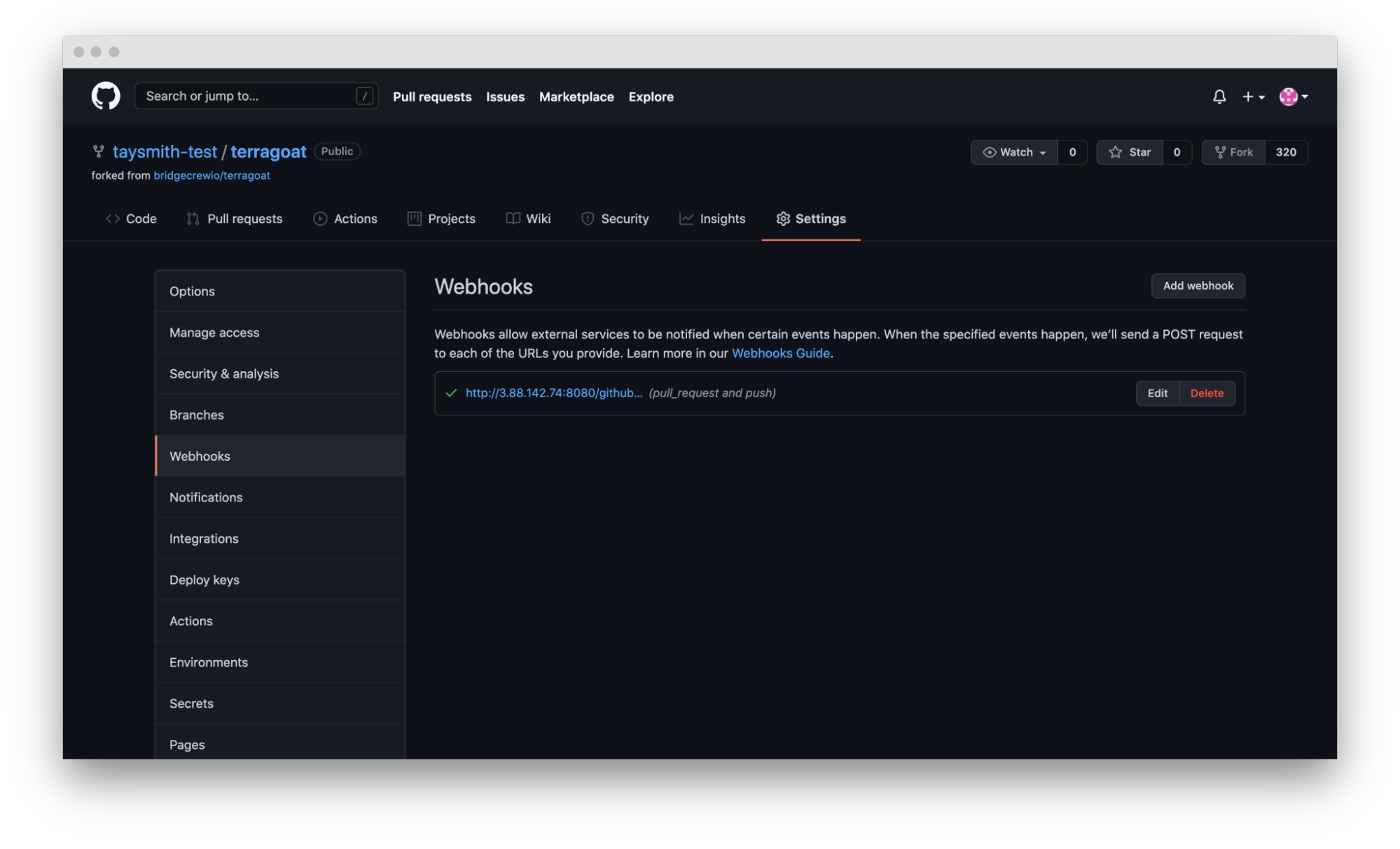 screenshot of terragoat webhook