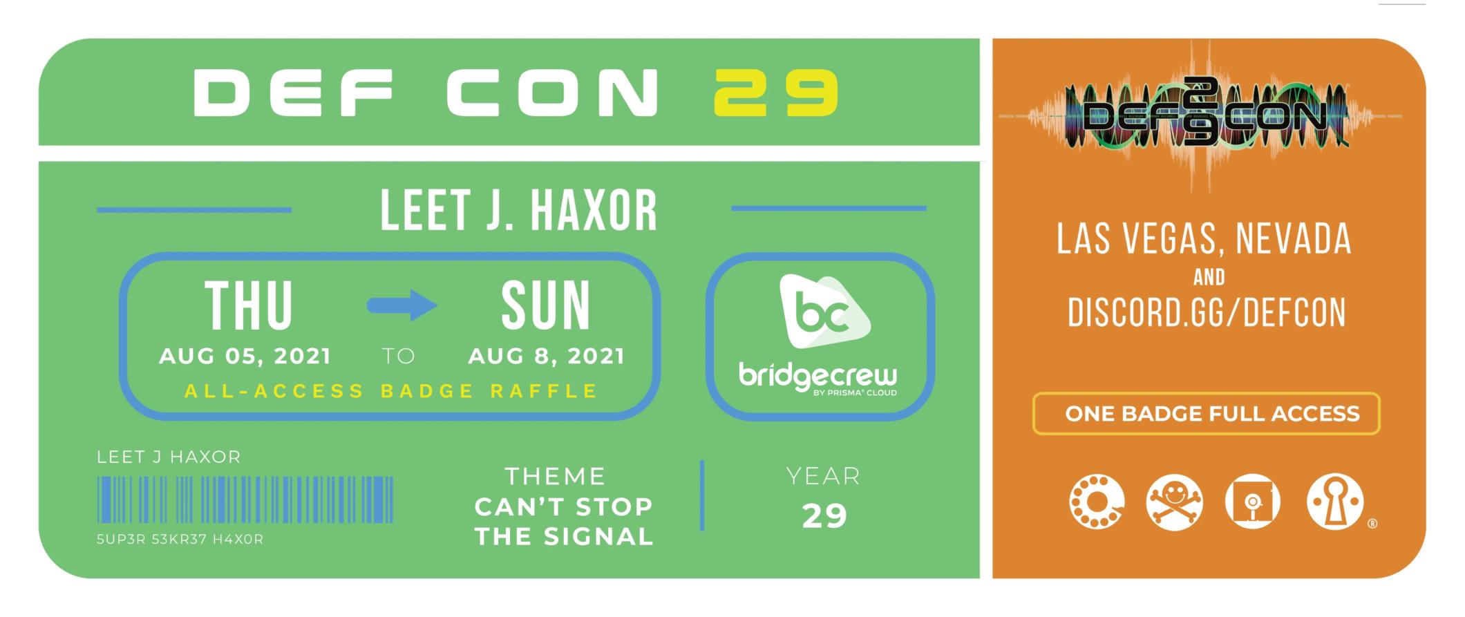 DEFCON29 Bridgecrew Badge Raffle