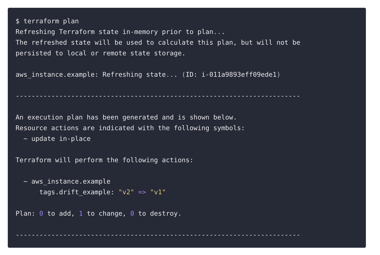screen shot of drift detection tools