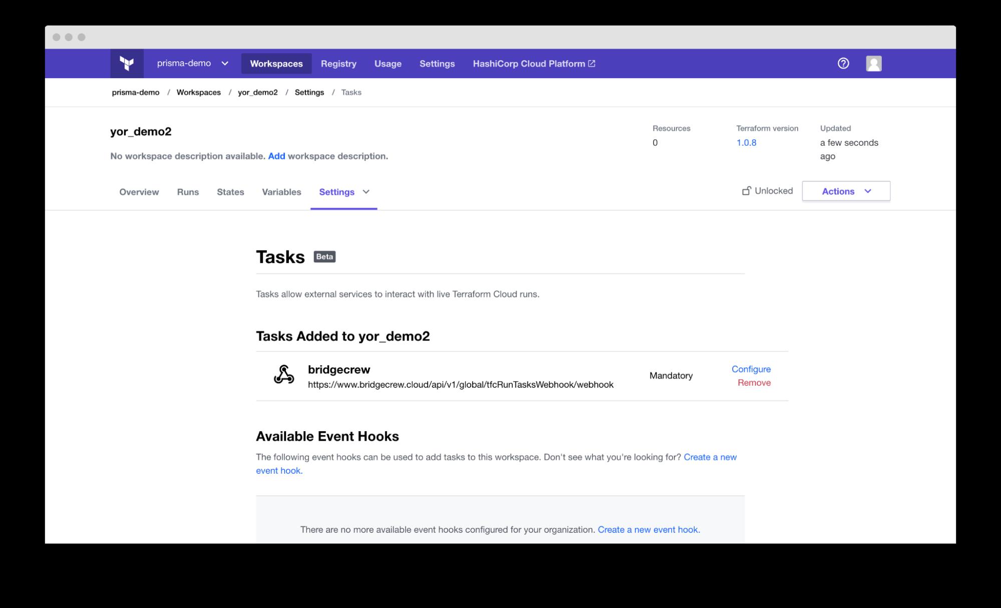 screenshot of tasks