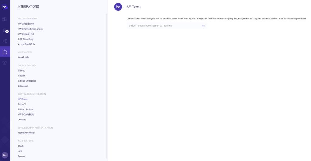 API key from bridgecrew integrations screen