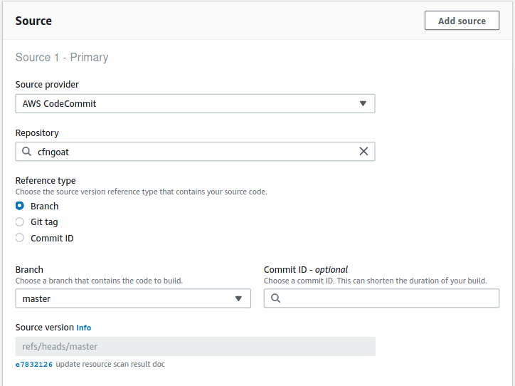 Select your CodeCommit repository
