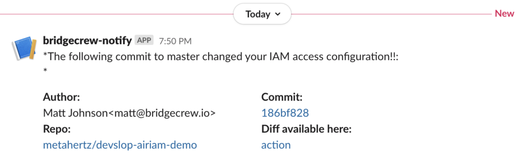 Slack notification IAM drift detection