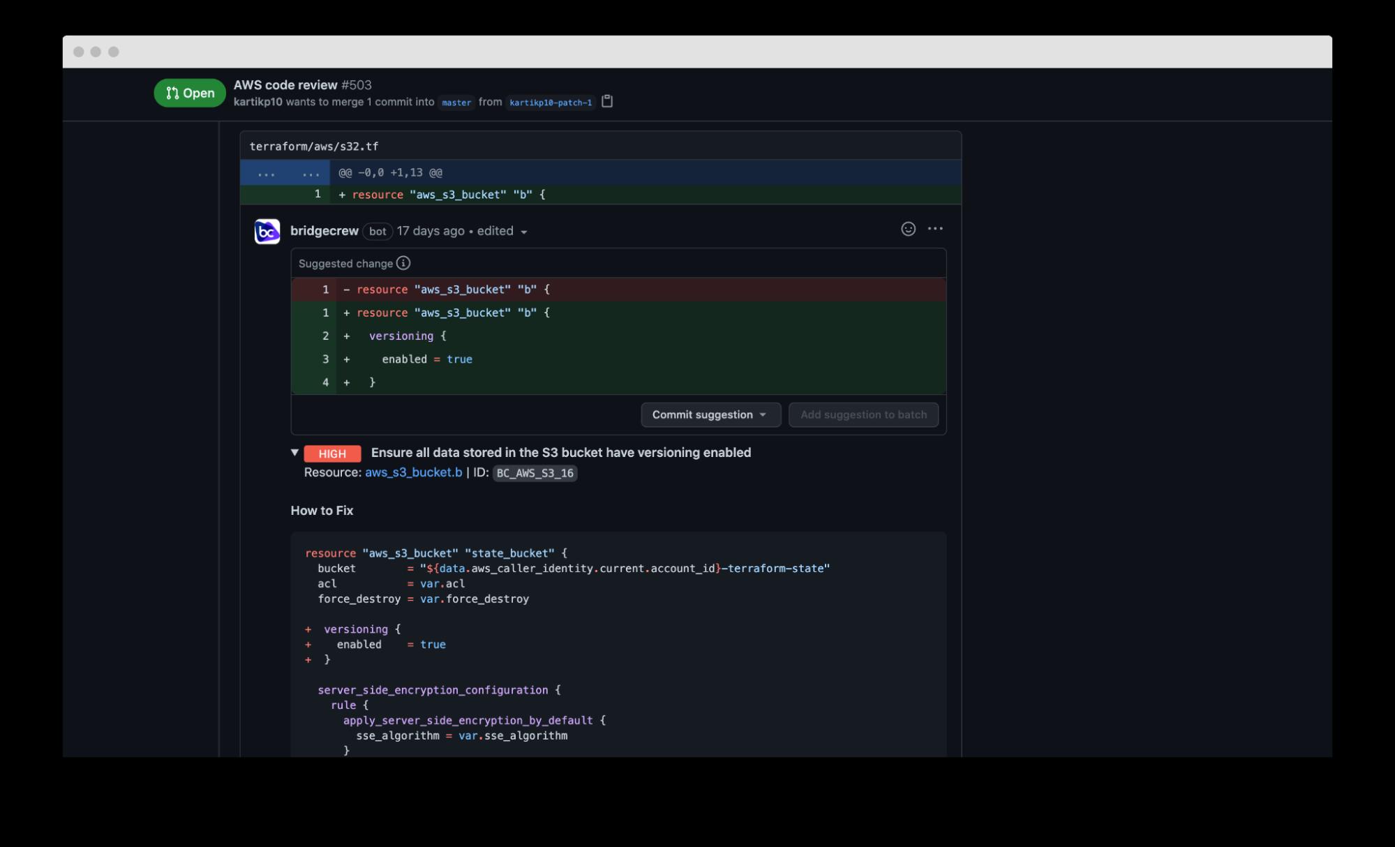 screenshot of aws code review