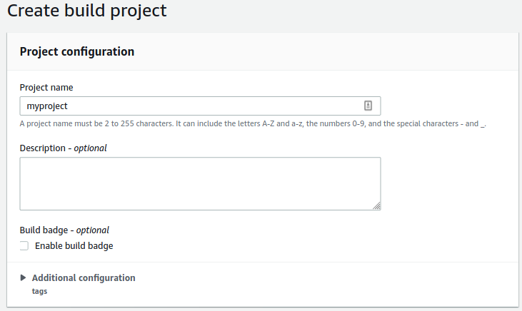 aws codebuild create build project