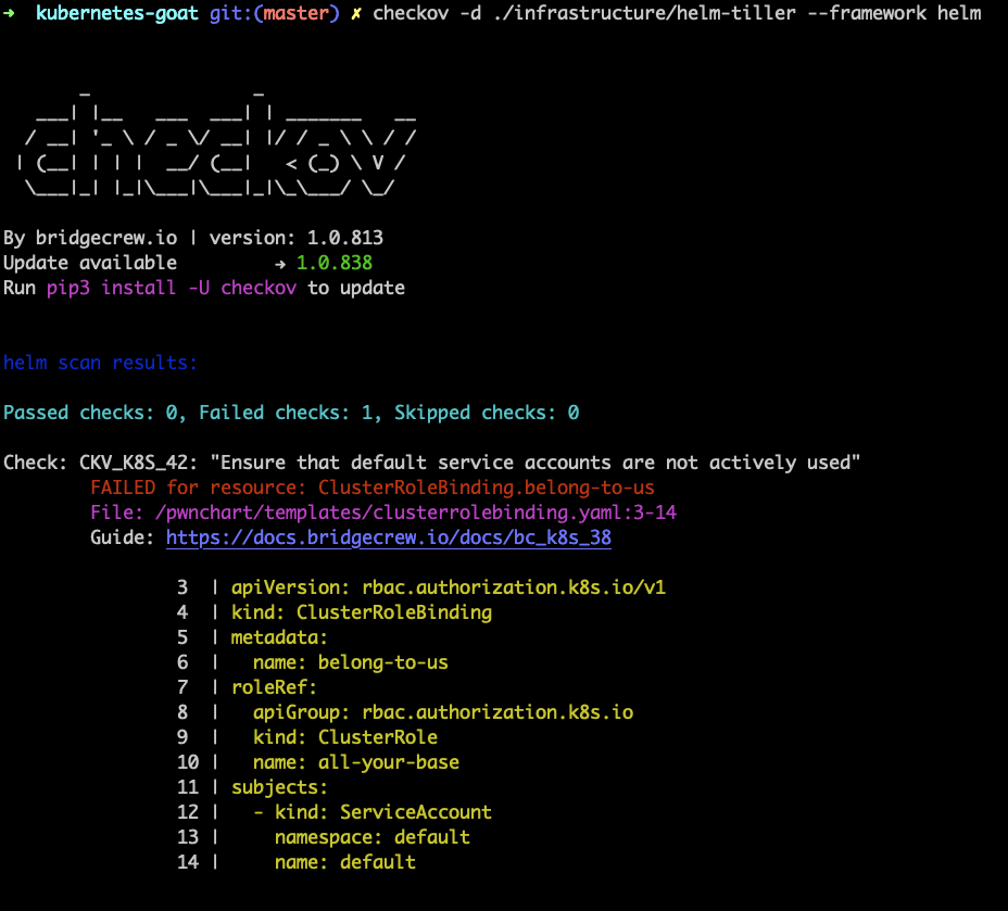 Helm scanning output from checkov