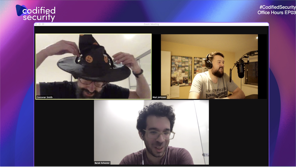 Bridgecrew team plus Corcoran and his modified Halloween hat for Episode 03 of the Codified Security Office Hours