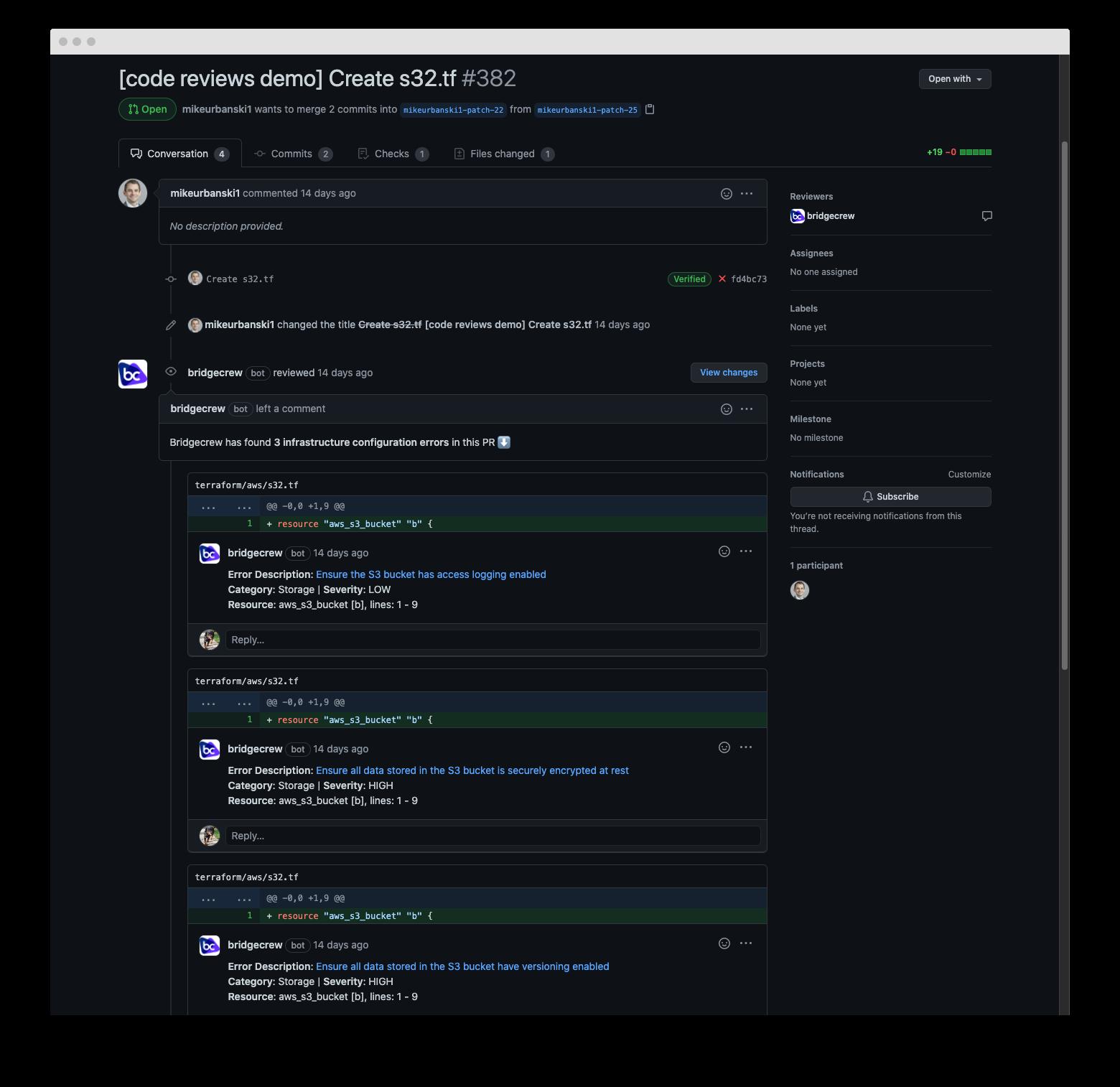 Bridgecrew GitHub pull request comments