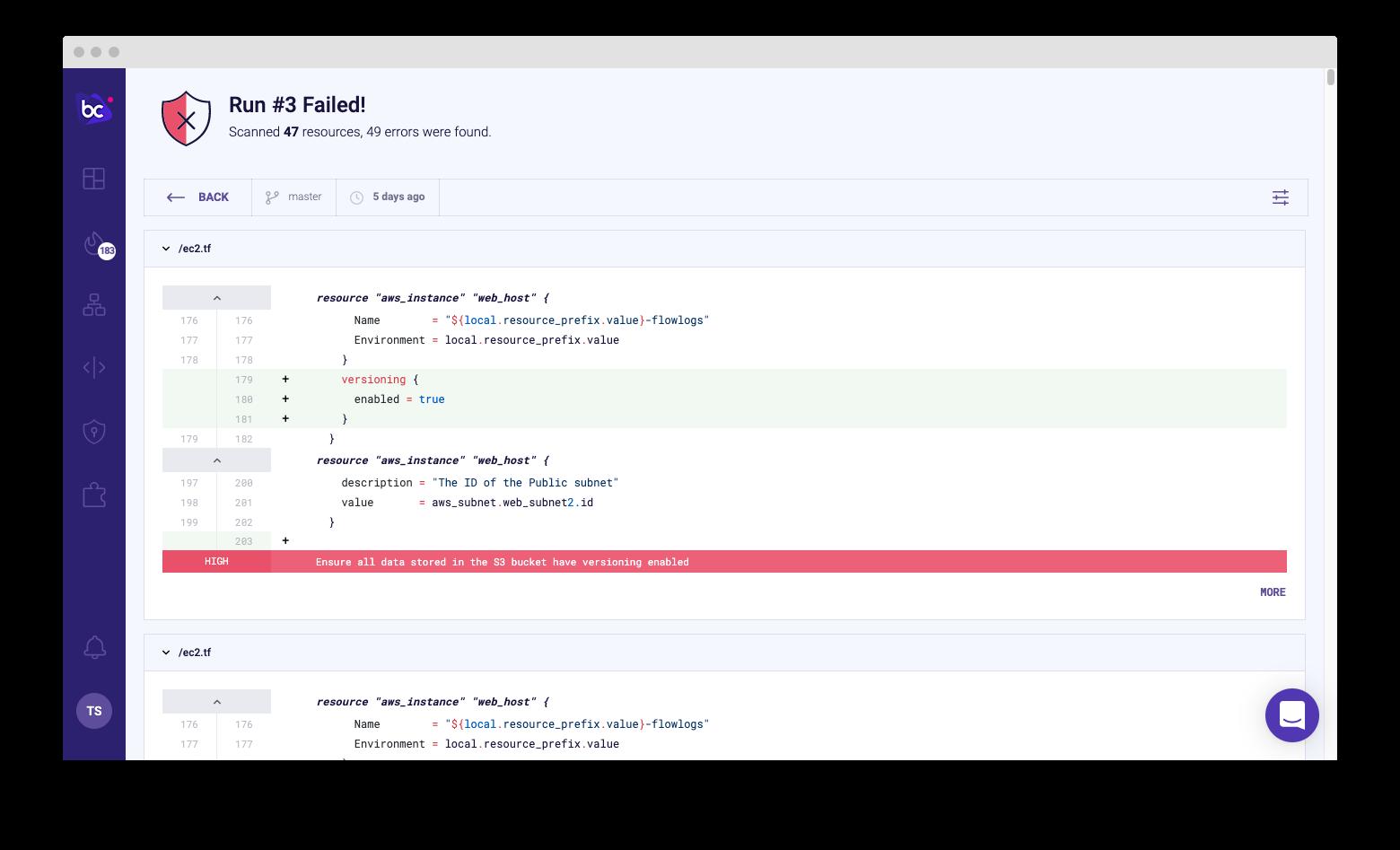 Bridgecrew Code Reviews UI